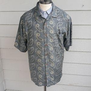 TOMMY BAHAMA Grey Gold Paisley Large Shirt Shirt